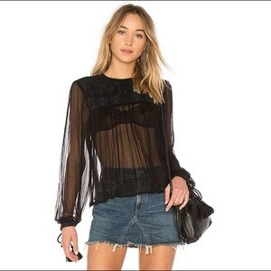 Free People | Floral Sheer Embroidered Top